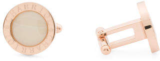 Men's Rose Gold Stainless Steel Mother Of Pearl Cuff Links