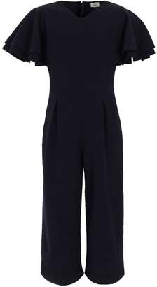 River Island Girls Navy frill sleeve culotte jumpsuit