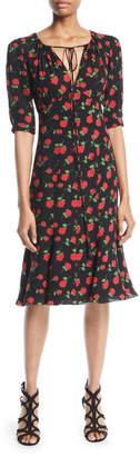 Michael Kors V-Neck Rose-Print Silk Georgette Dress