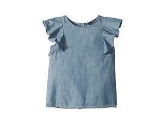 Polo Ralph Lauren Chambray Flutter-Sleeve Top (Little Kids)