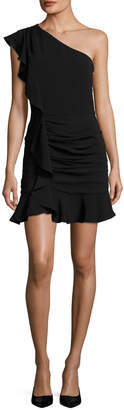 Veronica Beard Kingston Asymmetric Ruched Ruffled Mini Cocktail Dress