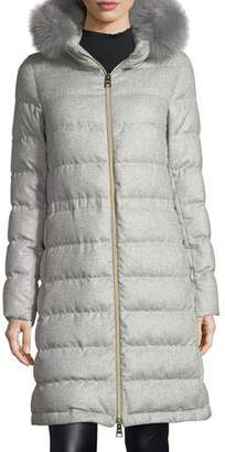 Herno Long Hooded Quilted Puffer Coat w/ Removable Fur Trim