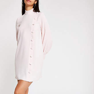 River Island Light pink button front swing dress