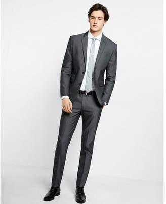 Express slim black cotton blend suit pant