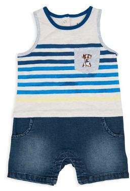 ED Ellen Degeneres Baby Boy's Striped Denim Shortalls