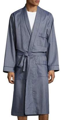 Neiman Marcus Tweed Robe with Piping, Blue