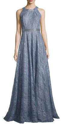 Carmen Marc Valvo Sleeveless Metallic Floral Gown, Blue $1,395 thestylecure.com