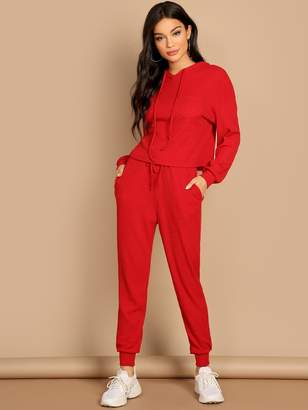 Shein Pocket Patched Solid Hoodie and Drawstring Waist Pants Set