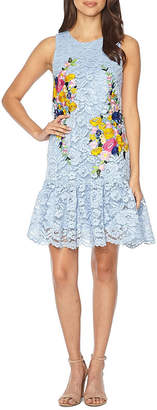 Nicole Miller Nicole By Sleeveless Embroidered Lace Floral Shift Dress