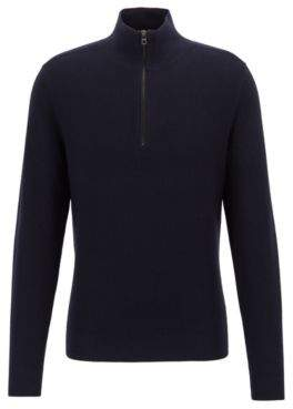 BOSS Micro-structure sweater with zip neck and colour contrasts