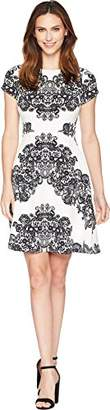 Adrianna Papell Women's LACE Printed FIT & Flare Dress