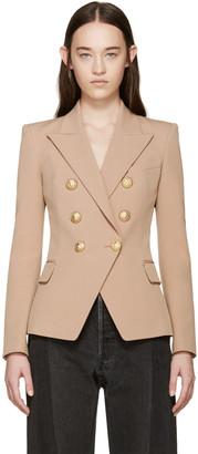 Balmain Tan Double-Breasted Blazer $2,375 thestylecure.com