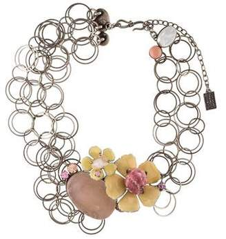 Philippe Ferrandis Mother of Pearl & Multistone Floral Necklace