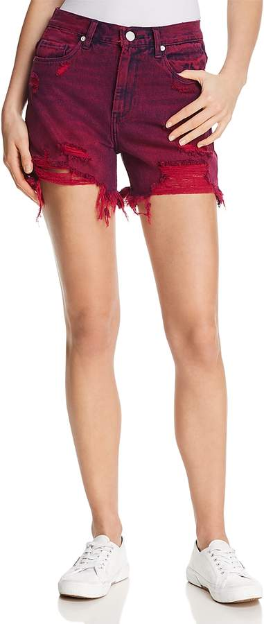 Blanknyc High-Rise Distressed Denim Shorts in Magenta Glow