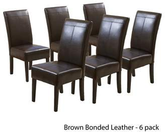 Noble House Franklin T-stitch Chocolate Brown Leather Dining Chairs (Set of 6)