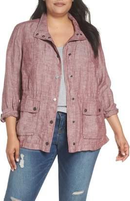 Caslon Cinch Waist Linen Utility Jacket