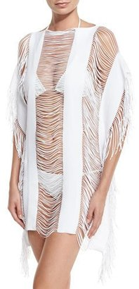 PilyQ Monique Shredded Fringe-Trim Coverup $134 thestylecure.com