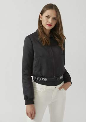 Emporio Armani Bomber In Technical Fabric With Elasticated Logo Band