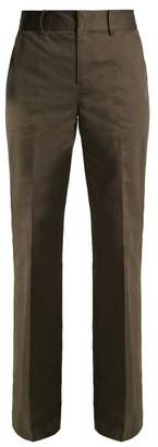 Frame High Pocket Flared Trousers - Womens - Dark Khaki