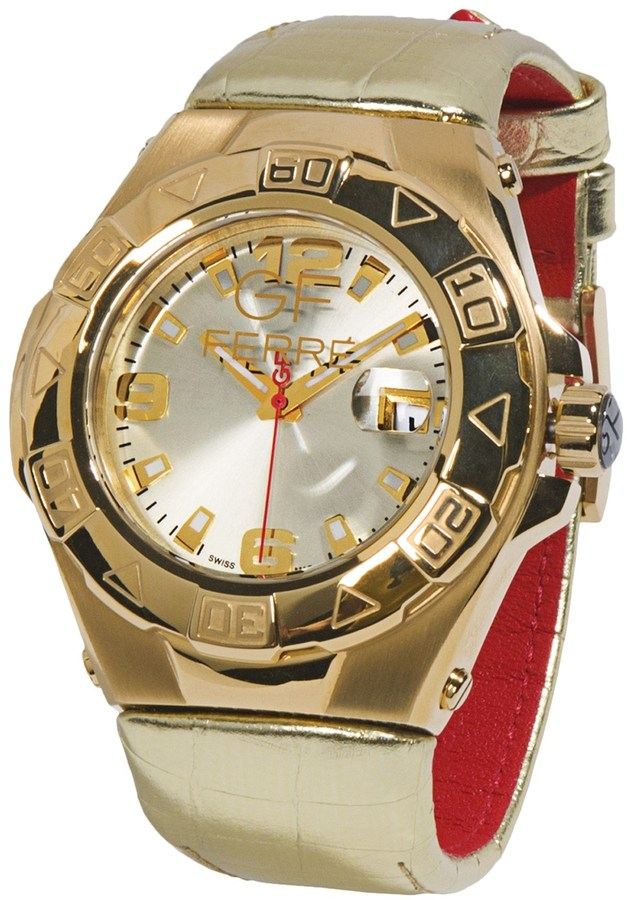 Gianfranco Ferre GF Gold PVD-Coated Watch