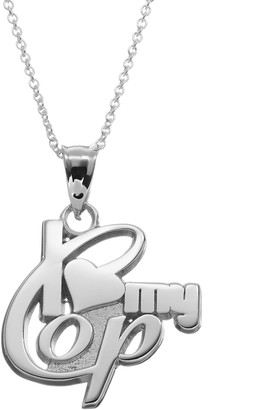 """Insignia Collection Sterling Silver """"I Love My Cop"""" Pendant Necklace"""