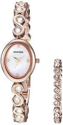 Swarovski Armitron Women's 75/5586MPRGST Crystal Accented -Tone Watch and Bracelet Set