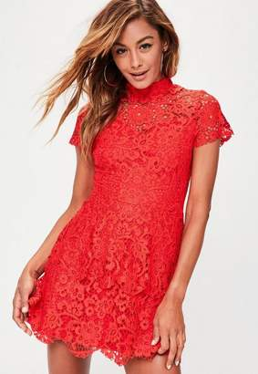 Missguided Red short sleeve double layer skater dress