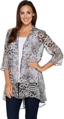 Susan Graver Printed Crinkle Sheer Chiffon Cardigan with Lace Inset