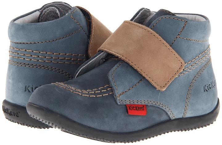 Kickers Bilou (Infant/Toddler) (Blue/Beige) - Footwear