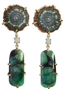 Jan Leslie 18k Bespoke 2-Tier Tribal Luxury Earrings w/ Brown Stalactite, Faceted Emerald & Diamond
