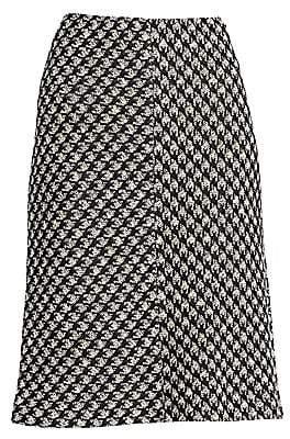 St. John Women's Houndstooth Textured Bouclé Knit A-Line Skirt