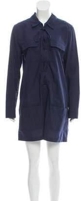 Equipment Lace-Up Mini Shirtdress