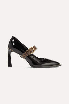 Fendi Logo-print Coated Canvas And Patent-leather Mary Jane Pumps - Black