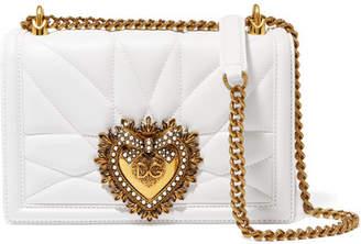 Dolce   Gabbana Devotion Mini Embellished Quilted Leather Shoulder Bag -  White 8f1a565b4010d