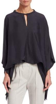 Brunello Cucinelli Washed Silk Keyhole Top