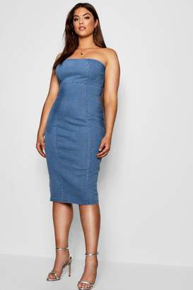 boohoo Plus Ellie Strapless Denim Wiggle Dress