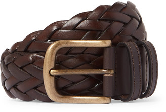 Anderson & Sheppard 3.5cm Dark-Brown Woven Leather Belt - Men - Brown