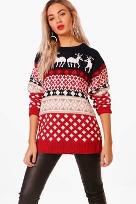 boohoo Reindeers Christmas Jumper