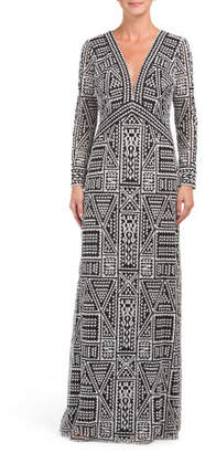 Tribal Pattern Long Sleeve Gown