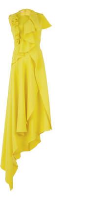 DELPOZO Asymmetrical Ruffled Crepe Sleeveless Midi Dress