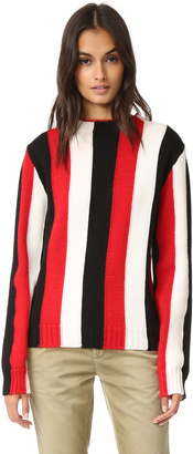 MSGM Vertical Stripe Crew Sweater $550 thestylecure.com