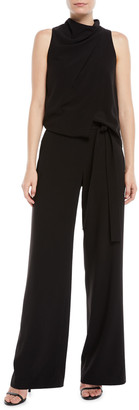 Halston Sleeveless Draped Jumpsuit w/ Sash