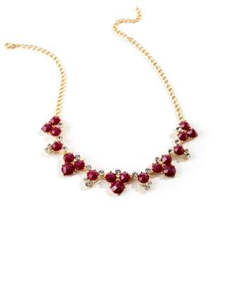 francesca's Emily Circle Cluster Statement Necklace in Red - Burgundy