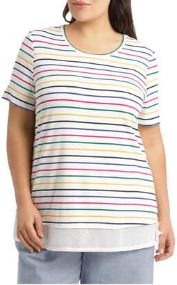 Short Sleeve Chiffon Hem Tee Sunshine Stripe