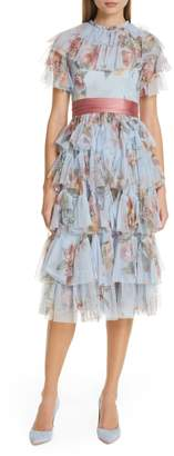 Needle & Thread Venetian Rose Tulle Midi Dress