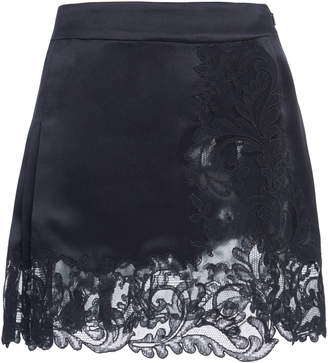 Versace Pleated And Lace-Paneled Silk-Satin Mini Skirt Size: 38