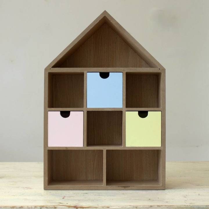 Little Ella James Wooden House Shelf With Drawers