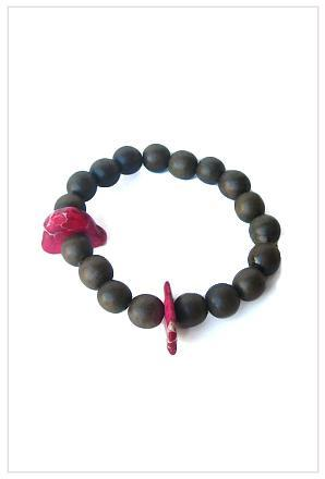 The Woods Wooden Bead and Fuschia Stone Bracelet