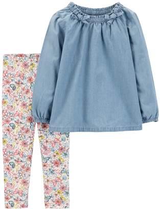 Carter's Toddler Girl Chambray Top & Butterfly Leggings Set