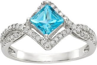 Sterling Square Shaped Gemstone & 1/4 ct Diamond Ring